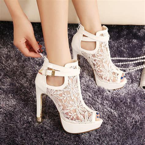 white lace high heels 2015 new lace platform pumps sandals white mesh