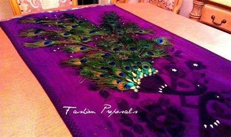 peacock wedding table runner purple peacock feather
