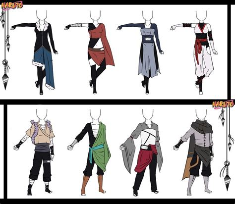 naruto character themes naruto adoptable outfit set 12 closed by orangenbluete