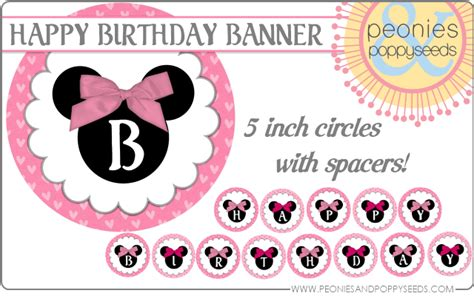 printable minnie birthday banner enchant topper for men hairstyle gallery