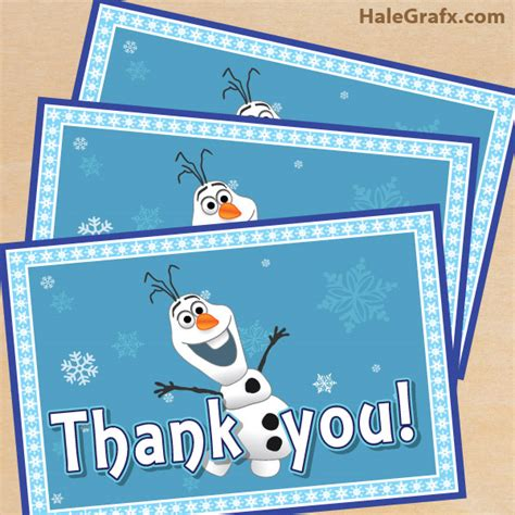 printable frozen thank you cards free printable frozen thank you card with olaf
