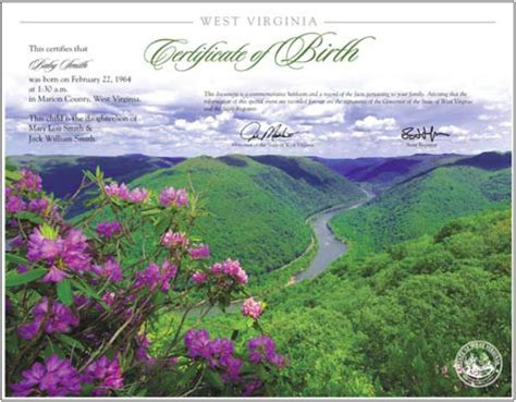 West Virginia Vital Records Birth Certificate The West Virginia Heirloom Birth Certificate