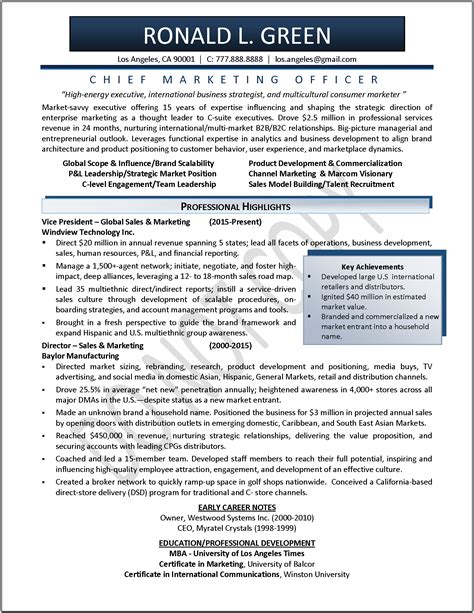 exle of a marketing resume marketing and sales resume objective