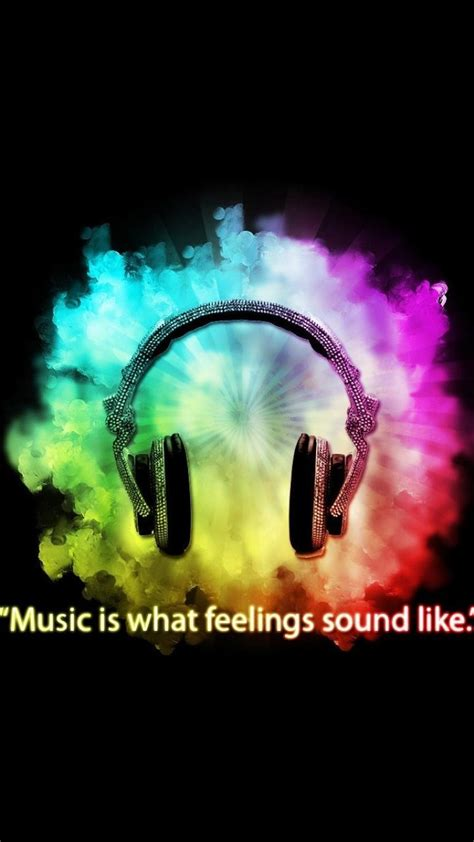 headphones  multicolor sound black background feeling