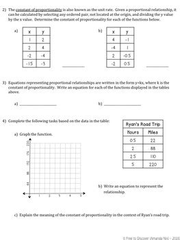 Graphing Proportional Relationships Worksheet