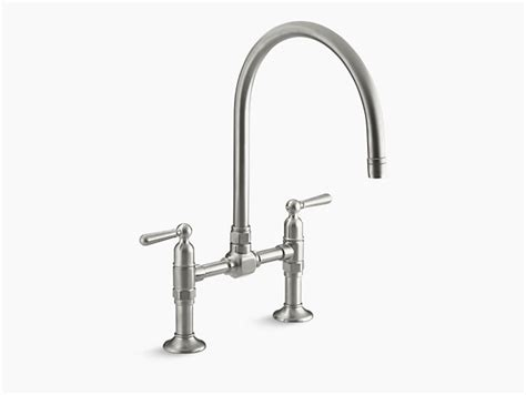 kohler k 7341 hirise single hole kitchen sink faucet with k 7337 4 hirise deck mount bridge kitchen sink faucet