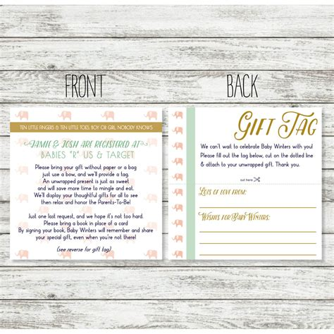 Wedding Registry Announcement Wording by Baby Shower Registry Card Wording For Unwrapped Gift For