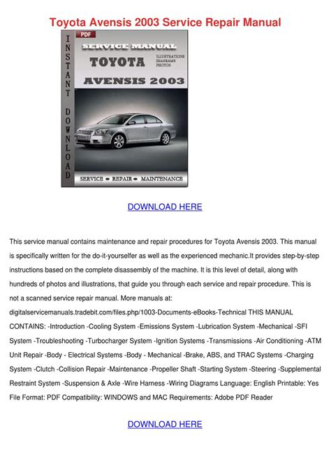 service manual old car owners manuals 2003 toyota prius instrument cluster service manual toyota avensis 2003 service repair manual by nelsonnicholson issuu