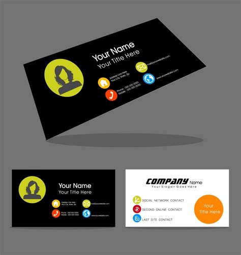 design logo name card name card design with portrait on contrast background free