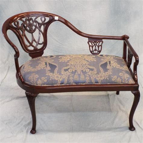fainting bench late 19th c small mahogany fainting quot bench quot w upholstered se