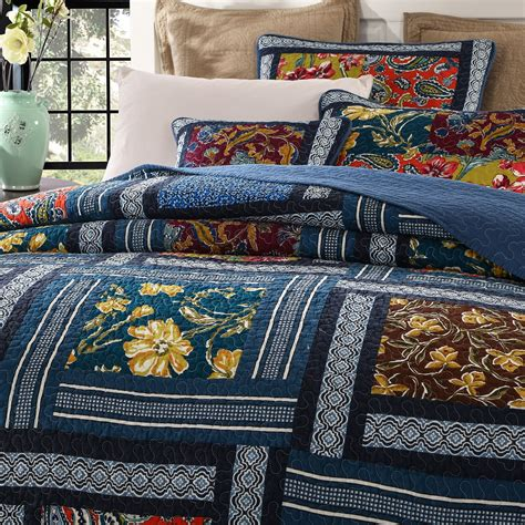 dada bedding bohemian floral real patchwork quilt set