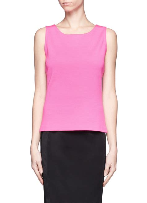 St Flowina Pink T3010 1 lyst st wool sleeveless knit top in pink
