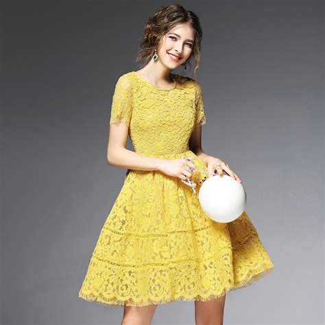 X54 To Dress Open Shoulder Kuning yellow lace dress