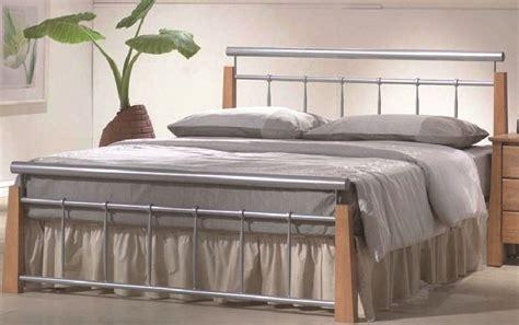 beech bed frames ontario contemporary beech silver metal bed frame 4ft6