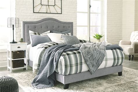 jerary gray queen upholstered bed jr furniture mattress