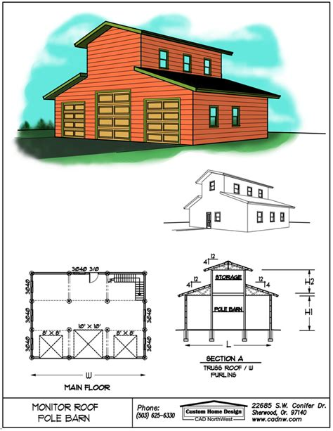 monitor style barn plans monitor style pole barn plans