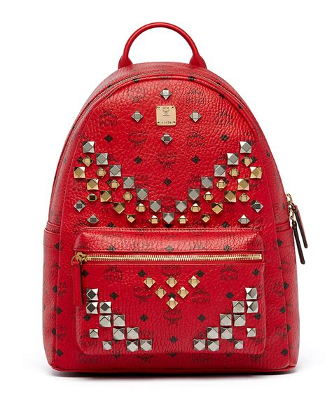 mcm mens sneakers mcm stark s stud medium backpack in multicolor ruby