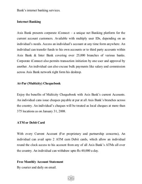 axis bank inter project report on axis bank
