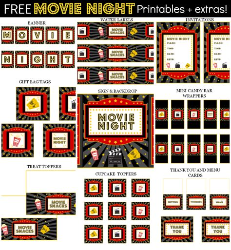 printable movie themed party decorations free movie night party printables extras free party