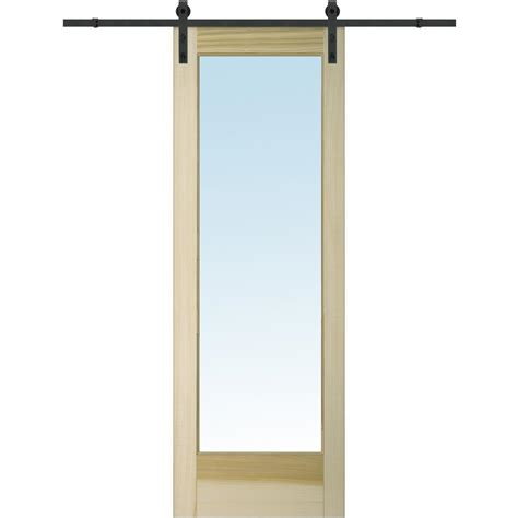 Pinecroft 38 In X 97 In Glass Barn Door With Sliding Glass Barn Door