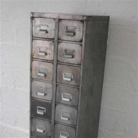 1960s Art Metal polished steel 16 drawer filing cabinet