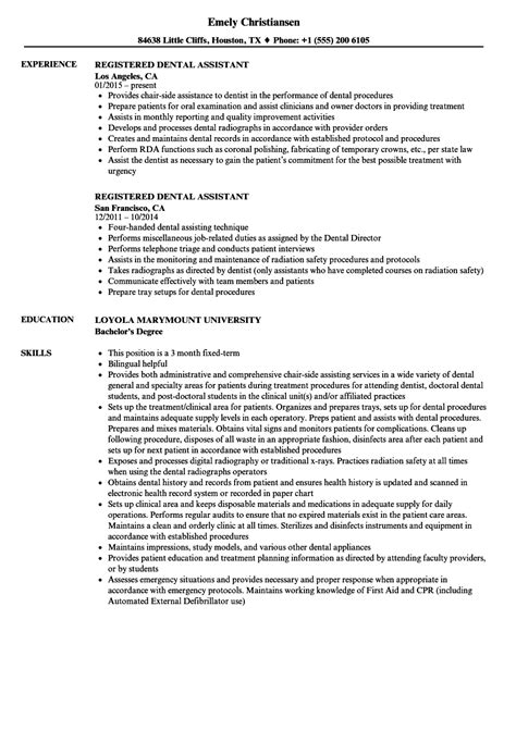 Registered Dental Assistant Resume Sles Velvet Jobs Dental Assistant Resume Template