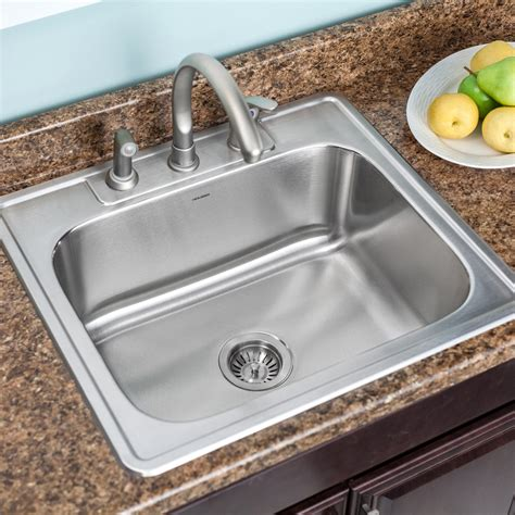 25 Kitchen Sink Houzer Glowtone 25 Quot X 22 Quot Topmount Single Bowl 18 Kitchen Sink Reviews Wayfair