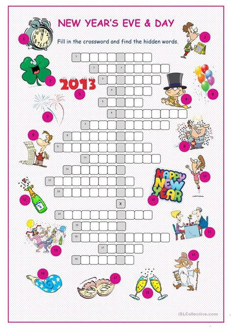 new year puzzles worksheets new year s day crossword puzzle worksheet free esl