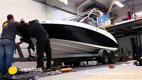 boat vinyl wrap youtube vinyl hull wrap yamaha ar210 vinyl wrap by grapefruit