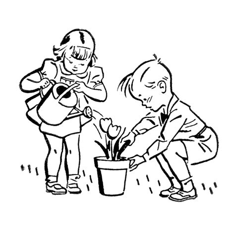Garden Art Projects For Kids - retro images cute kids gardening fishing playing the graphics fairy