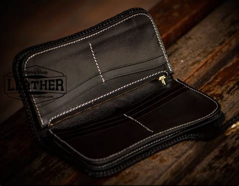Handmade Leather Biker Wallets - hasp handmade carved wallet black and white