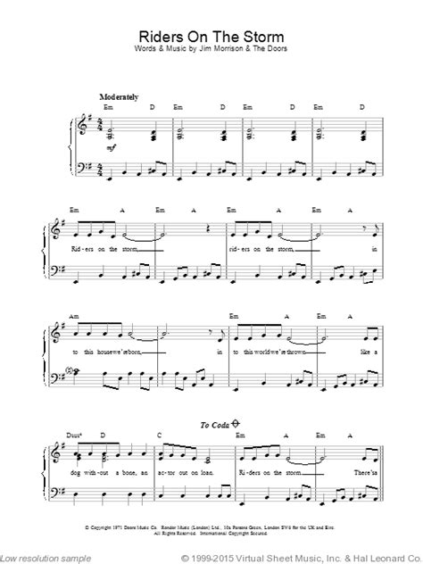 tutorial piano riders on the storm doors riders on the storm sheet music for piano solo