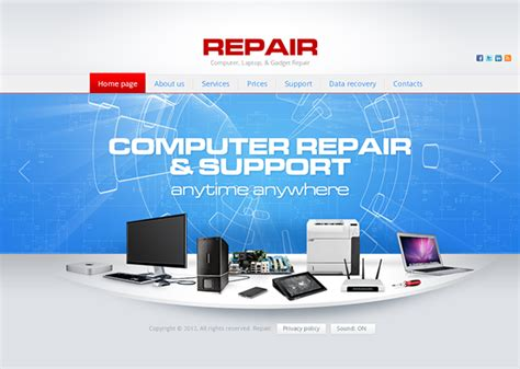 repair computer laptop gadget repair html5 template on