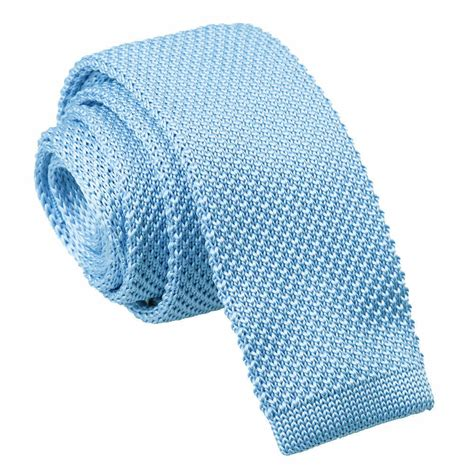 s knitted baby blue tie