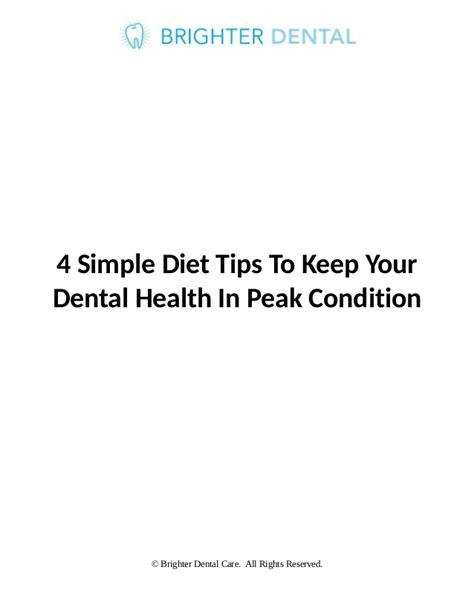 Tips On How To Keep To Your Diet by 4 Simple Diet Tips To Keep Your Dental Health In Peak