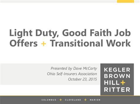 light duty work exles light duty good faith job offers transitional work