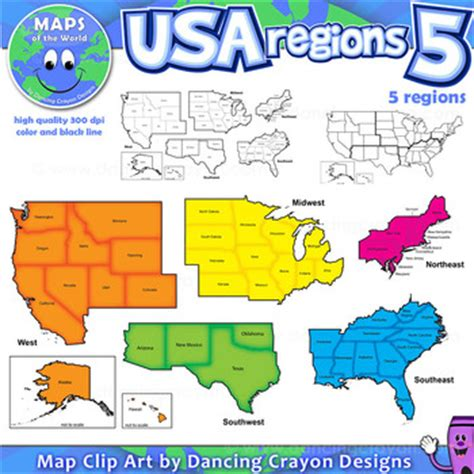 5 regions of the united states printable map regions of the usa five regions map clip by maps of