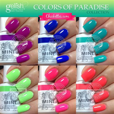 gelish color swatches gelish colors of paradise collection summer 2014