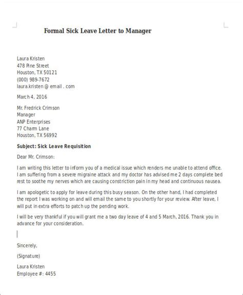Request Letter To Manager Sle Formal Sick Leave Letters 5 Exles In Word Pdf