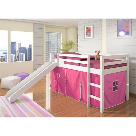 loft beds with slide donco kids twin loft tent bed with slide white