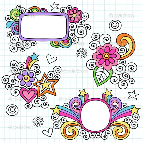 doodle vector depositphotos groovy picture frames psychedelic doodles