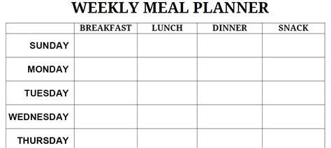 printable blank meal planner printable blank pdf weekly meal planner lets get
