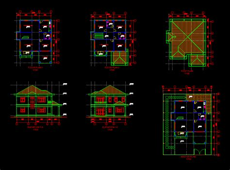 cad house two story house plans and detail in vietnam cad drawing