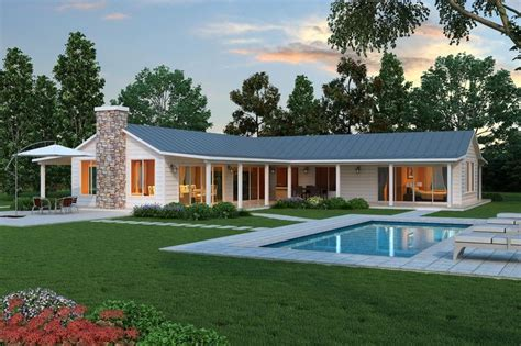 L Shaped Ranch House | modern l shaped farmhouse plan cliff may style ranch