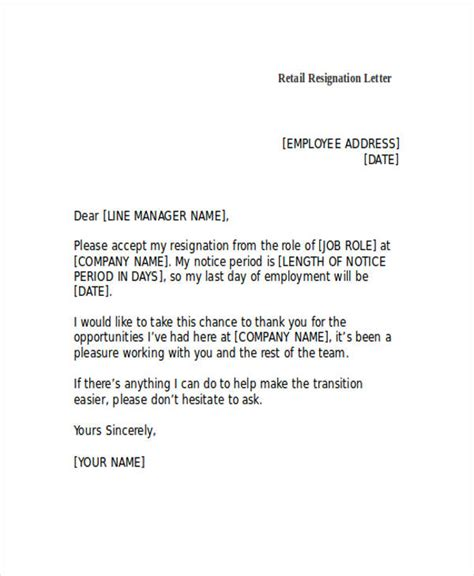How To Write A Resignation Letter For Retail by 49 Resignation Letter Exles