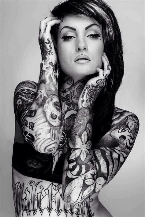 white girls with tattoos with black and white flowers design