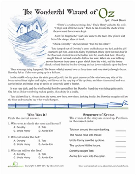 5th Grade Reading Comprehension Worksheets With Answers by Reading Comprehension Wizard Of Oz Worksheet