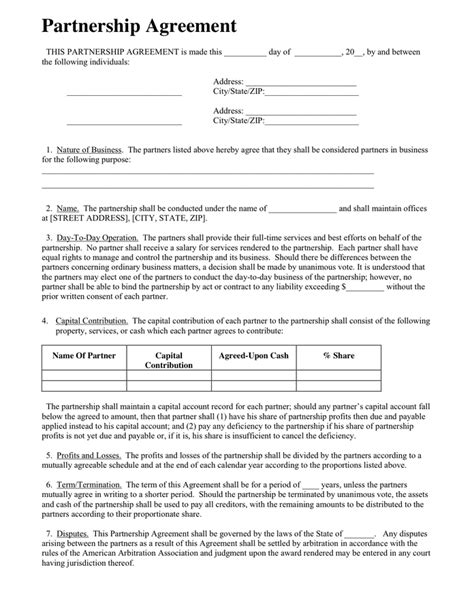 partnership agreement template in word and pdf formats