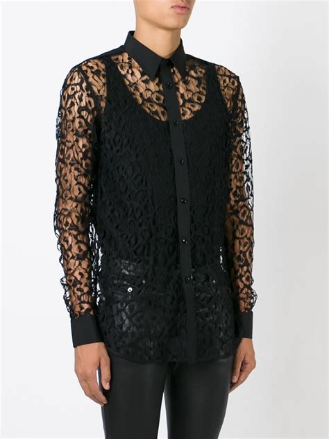 43322 Black Fifth Lace Casual Top lyst laurent sheer lace shirt in black for