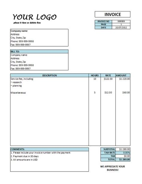 Hourly Invoice Template Hourly Rate Invoice Templates Free Invoice Pinterest Template Hourly Invoice Template